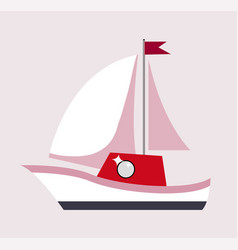 sailboat with flag gift poster vector image