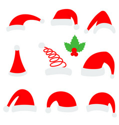 santa christmas hat red santa top hat isolated on vector image