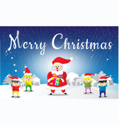 Santa claus and childen merry christmas vector