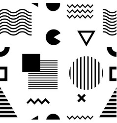 Seamless pattern with black geometric shapes on vector
