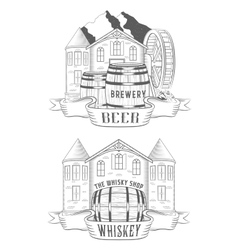 Set Beer House and Whiskey Shop vector