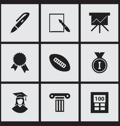 Set of 9 editable university icons includes vector