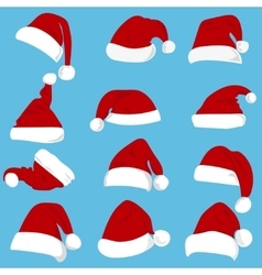 Set of red Santa Claus hats isolated on white vector