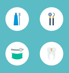 set of tooth icons flat style symbols with caries vector image