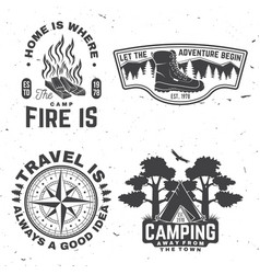 set outdoor adventure quotes symbol concept vector image