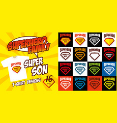 Set super son logo superhero t-shirt design vector