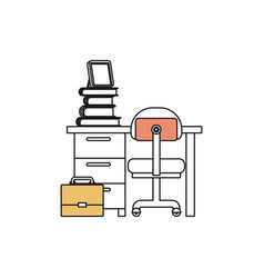 Silhouette color sections of desk home with chair vector