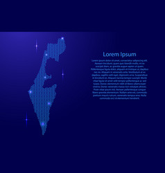 Silhouette of israel country from wavy blue space vector