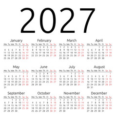 Simple calendar 2027 monday vector