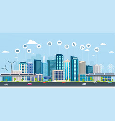 Smart city with business signs online concept vector