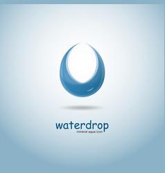 stylized blue water drop logo design vector image
