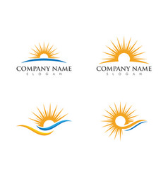 Sun over horizon logo template vector