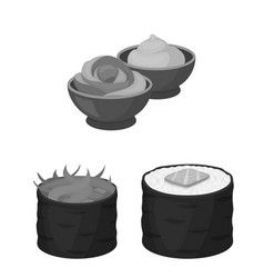 Sushi and seasoning monochrome icons in set vector