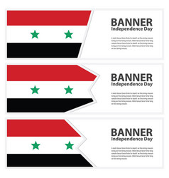 Syria flag banners collection independence day vector