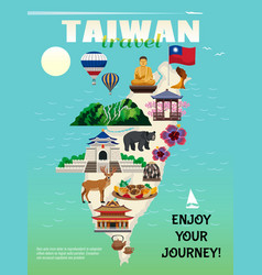 taiwan travel poster vector image