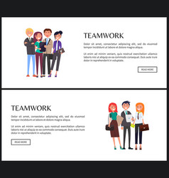 Teamwork promo banner with workers in groups set vector