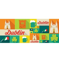 travel and tourism icons Dublin vector image