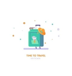 Travel concept Suitcase flat vector