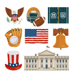 usa landmarks and other different cultural objects vector image