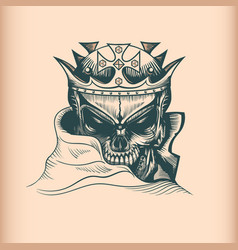 Vintage king skull monochrome hand drawn tatoo vector