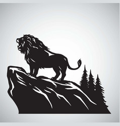 Wild lion snarling roaring on a hill icon vector