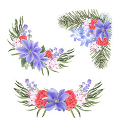 Winter bloom bouquet design with lilies peony vector