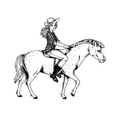 Woman ride horse engraving vector