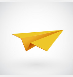 Yellow paper airplane vector