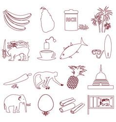 Sri-lanka country symbols outline icons set eps10 vector