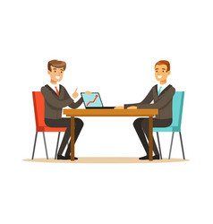 two businessmen at a business meeting discussing vector image