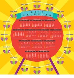 Colorful Ferris Wheel 2017 Printable Calendar vector image vector image