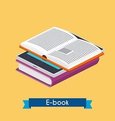 Flat 3d isometric e-book reader and books Online vector image