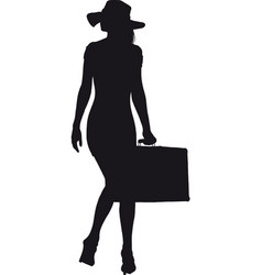 girl with suitcase vector image vector image