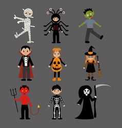 halloween monsters costumes vector image vector image