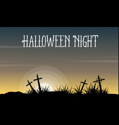halloween with grave landscape collection vector image