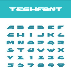 Tech font Wide bold poster cornered letters vector image vector image