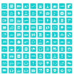 100 headphones icons set grunge blue vector image vector image