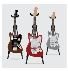 Electric Guitar set with Stand vector image vector image