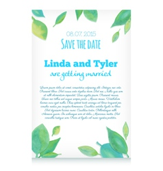 Invitation card with green hand drawn watercolor l vector