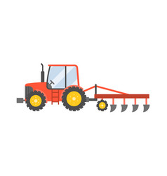 red tractor with plow for planting crops icon vector image