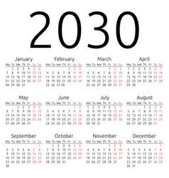 Simple calendar 2030 monday vector