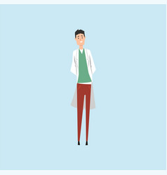 smiling male doctor character vector image vector image