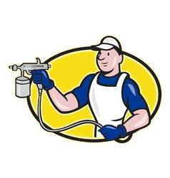 Spray Painter Spraying Gun Cartoon vector image