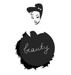 beauty inscription on black splash and girl vector image vector image