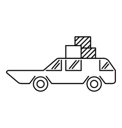 Hatchback with boxes icon outline style vector image