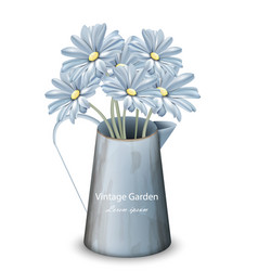 vintage spring flowers background blue vector image