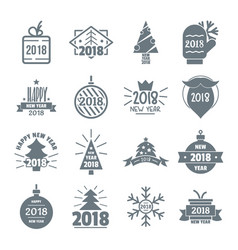 2018 new year logo icons set simple style vector