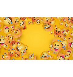 3d yellow emoji face icon copy space background vector