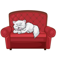 A cat sleeping soundly at the chair vector image