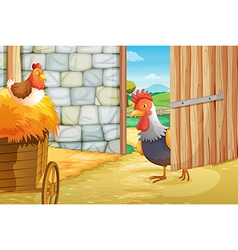 A rooster and a hen at barnhouse vector